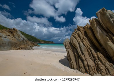 Rocky outcropping at Lambert Beach on the east end of Tortola, British Virgin Islands.