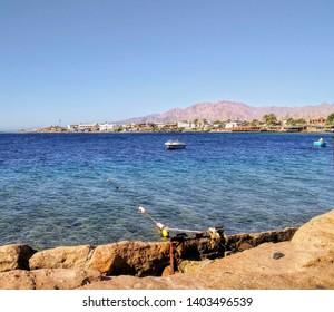 Rocky part of the coast at Dahab, Egypt.