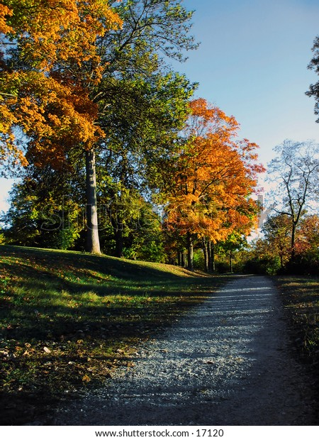 A rocky path leads off to the distance, bordered by fall foliage.