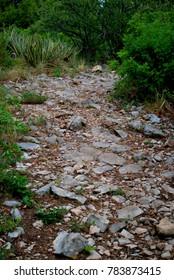 Rocky path, mountains