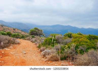 rocky path on a mountain near in Sissi on Crete in Greece