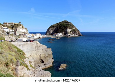 the rocky promontory of Sant' Angelo in the Italian blue sea of ​​Ischia