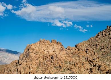 rocky ridge in Alabama Hills of the Sierra Nevada mountains of California