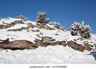 Rocky ridges and juniper trees are blanketed with snow after a blizzard has passed through western Colorado. The sky is blue and everything is lit by bright sunshine.