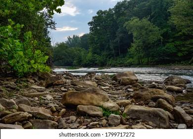 Rocky River Bank On Mulberry River in Oark, Arkansas