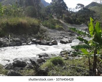 Rocky river in the highlands of Loja - Ecuador.