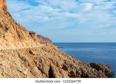 rocky road along the sea to the Balos beach, Crete, Greece