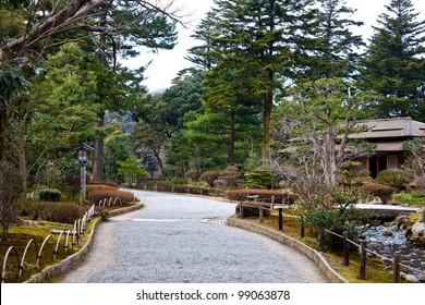 A rocky road inside Kenrokuen Garden in Kanazawa
