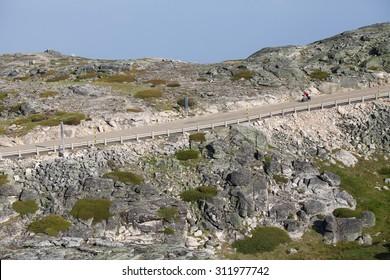 Rocky road in Portugal, national park Sierra De Estrella