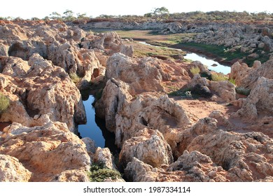 Rocky sandstone water catchment area in outback Australia.