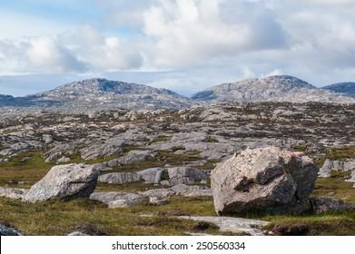 Rocky Scottish landscape taken from the Golden Road, Isle of Harris, Outer Hebrides, Scotland, UK.