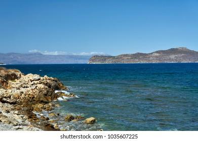rocky sea coast on the island of Crete, Greece