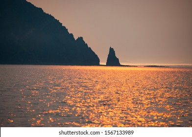 Rocky sea coast of the Russian Far East. Summer photos in in a good weather