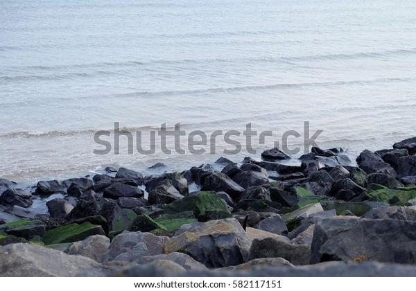 rocky sea shore in evening