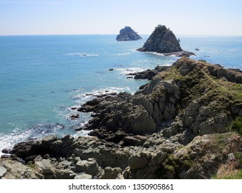 Rocky sea shore on the rock beach