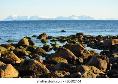 Rocky sea shore with snowy mountain range in the background on Grunnfarnes, Senja