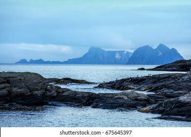 Rocky sea shore. Wilderness. Beautiful nature Norway. Lofoten islands. Reine