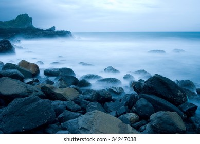 Rocky Seacoast, long time exposure, Taiwan, East Asia