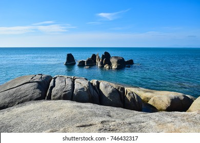 Rocky seashore beach Hin Ta Hin Yai, famous landmark at Samui island, Thailand