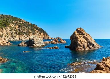 Rocky seaside of Tossa de Mar. Costa Brava, Spain