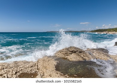 Rocky shore of the Adriatic sea after storm
