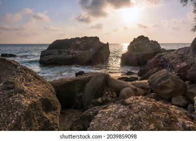 Rocky shore in Agios Gordios area, Corfu, Greece