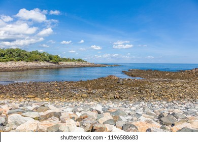 Rocky shore of Arlantic Ocean near Perkins Cove in Ogunquit  Maine in the United States