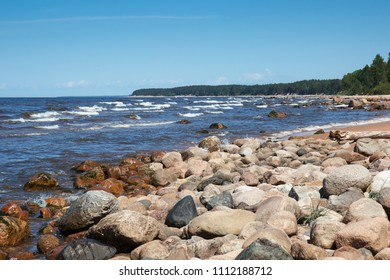the rocky shore of the Baltic Sea in summer day