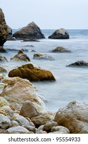 Rocky shore of the Black Sea in bad weather. long exposure.