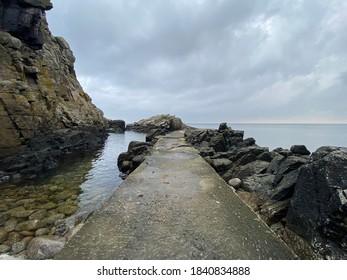 Rocky shore in Bornholm, Denmark.