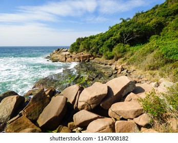 Rocky shore at Brava beach, in Florianopolis island - Brazil