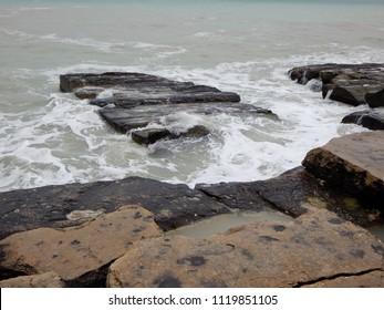 Rocky shore of the Caspian Sea. Mangistau region. Kazakhstan.