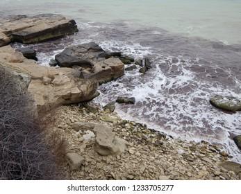 Rocky shore of the Caspian Sea. Mangistau region. Kazakhstan. Month of January.