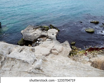 Rocky shore of the Caspian Sea. View from above.