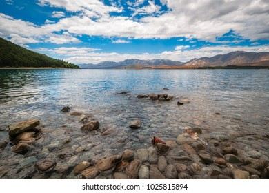 The rocky shore of Lake Tekapo on a beautiful summer day surrounded by the Southern Alps in Canterbury region, New Zealand.