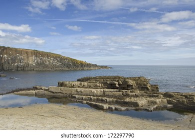 The rocky shore near Craster on the Northumbrian coast, looking out over the North Sea