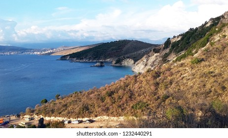 Rocky shore next to Ksamil, Saranda, Albanian Riviera, beautiful seascape