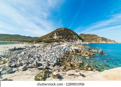 Rocky shore in Punta Molentis, Villasimius. Sardinia, Italy