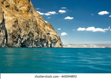 rocky shore sea cliffs in Crimea Karadag