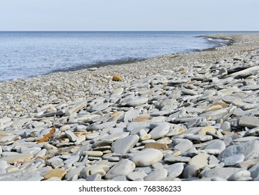Rocky shoreline beside Lake Erie in Pennsylvania