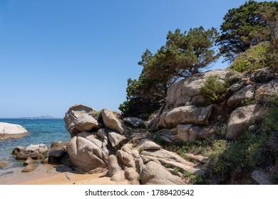 Rocky shoreline at Cala dei Ginepri in Sardinia