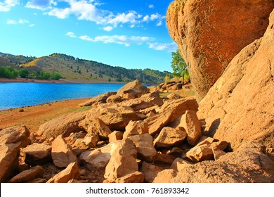 Rocky shoreline landscape of Horsetooth Reservoir County Park in Larimer County Colorado