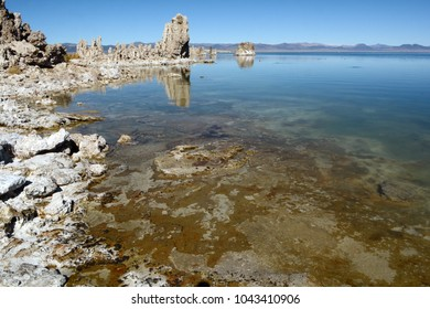 The rocky shoreline of Mono Lake in northern California with tufas reflecting in the calm water.