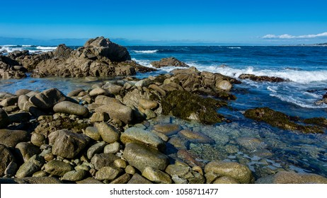 Rocky shoreline near Pebble beach, Pebble Beach, Monterey Peninsula, California, USA,  on the 17-mile drive route