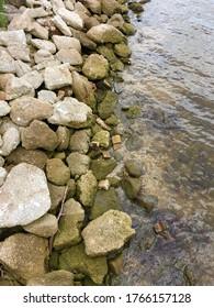 Rocky shoreline on Intracoastal Waterway