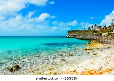 Rocky shoreline on the island Eleuthera on the Bahamas