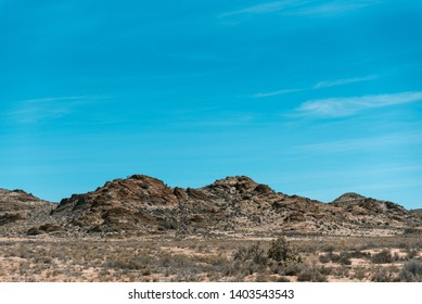 Rocky South African Karoo landscape vivid colors with blue skies