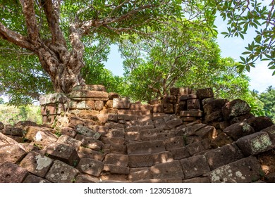 Rocky stairs leading to Vat Pou Khmer temple, nouned world heritage by UNESCO and also know as the small Angkor Wat