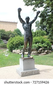 The Rocky statue is located near the Art Museum and placed on a pedestal in a grassy area near the foot of the steps to the right of the Museum, Philadelphia, USA, August 3, 2017