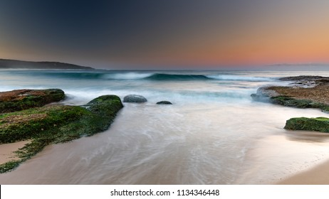 Rocky Sunset Seascape - Taken at Catherine Hill Bay on the Central Coast of NSW, Australia